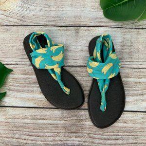 Sanuk Yoga Sling Banana Print Flat Sandals